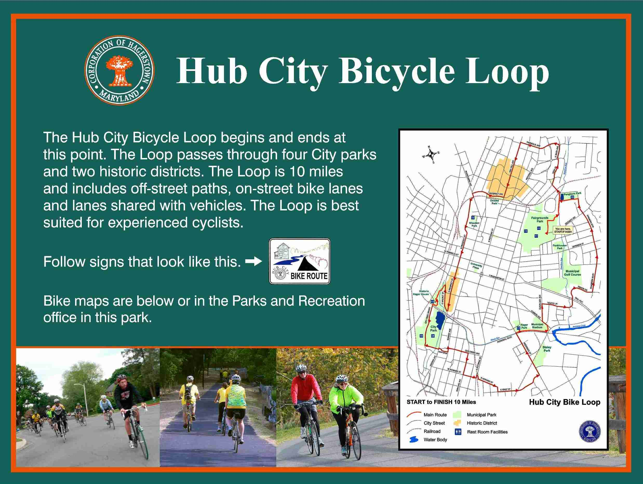 HUB CITY BICYCLE LOOP sign
