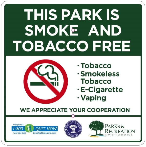 Tobacco Free Park sign