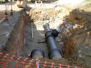 Water pipes exposed in the ground
